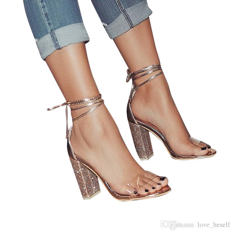 Acquista Sandali Con Tacco Da Donna Bandage Con Strass E Cinturino Alla  Caviglia Pompe Con Tacchi Alti 10 141d5034012