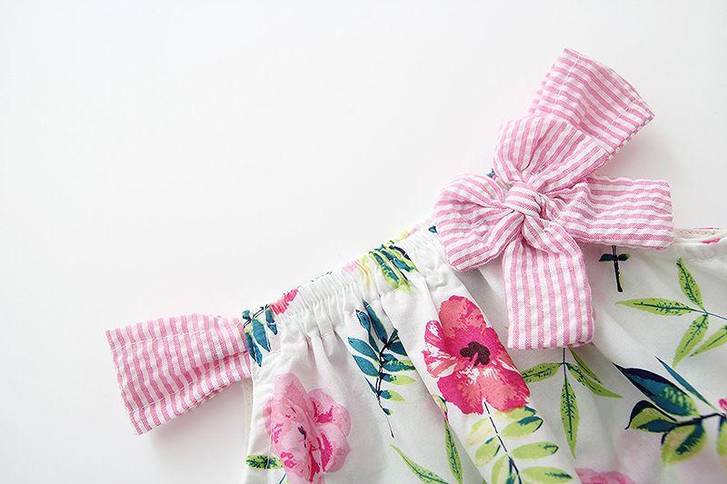 INS styles nouvelle arrivée fille robe enfants sans manches 100% coton fleur imprimée jarretelle robe fille robe + vêtements courts fille livraison gratuite