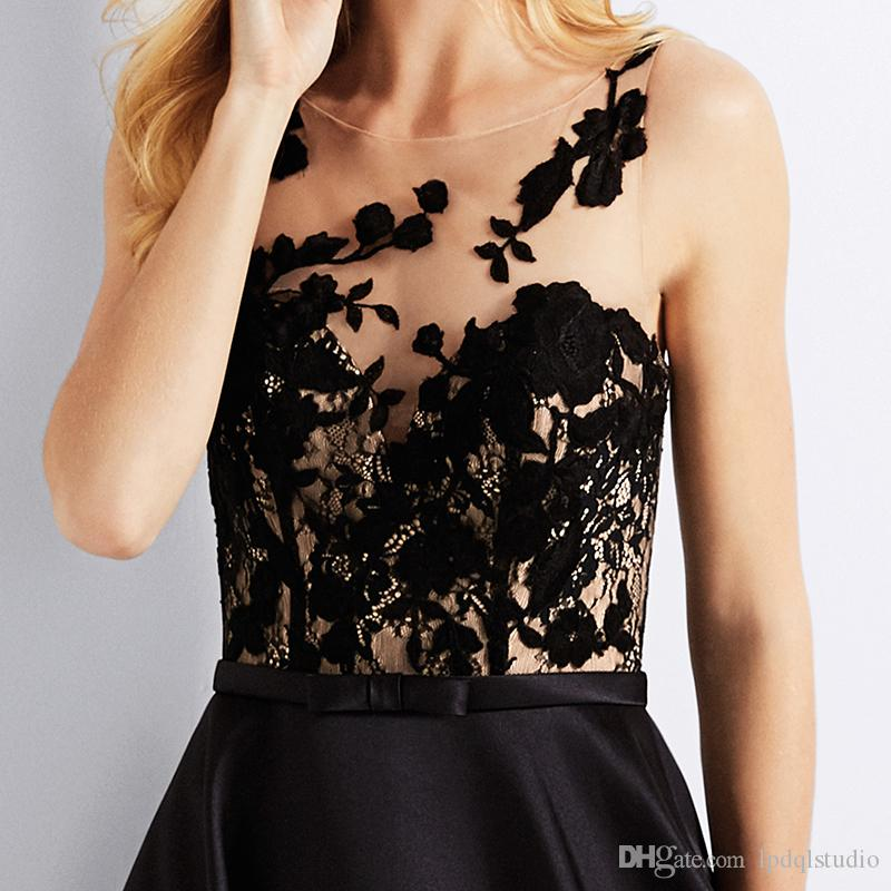 2018 Stunning Evening Dress Black Satin Prom Dress with Pockets Sheer with Floral Applique Buttons Back Formal Gowns