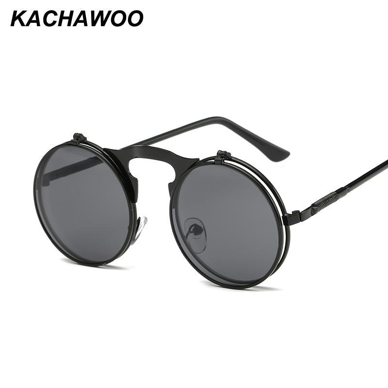 2697bf8fdf Compre Kachawoo Al Por Mayor 6 Unids Retro Steampunk Gafas De Sol Redondas  Para Los Hombres Marco De Metal De Oro Negro Flip Up Gafas De Sol Mujeres  ...