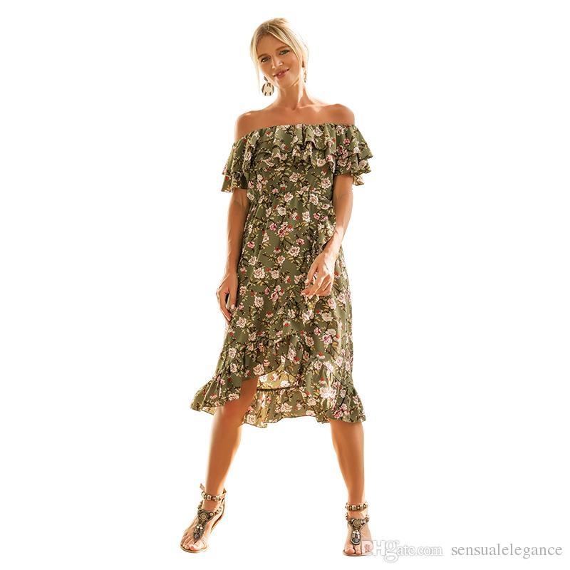 ce3f57fea1 Compre Vestido De Playa Casual De Moda Joven De Manga Corta Con Estampado  Floral Vestidos De La Cintura Del Partido Para Las Mujeres Longitud De La  Rodilla ...