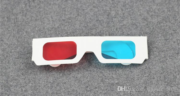 Rojo cian azul tarjeta de papel 3D 3-D anaglifo 3D Gafas blanco DHL envío gratis