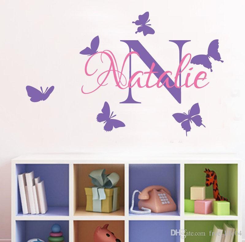 yoyoyu removable custom name elephant butterfly wall decal for kid