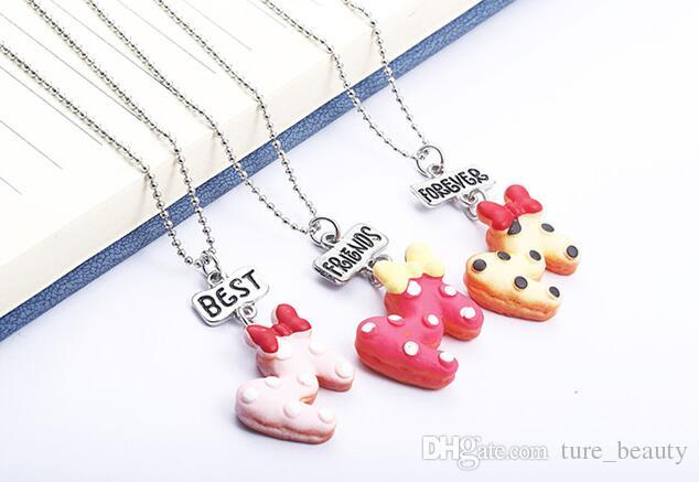 HOT SALE kids jewelry New Arrive Best Friend Necklace Cute Letter Bow Best Friends BFF Necklace Bead Chain Pendant Charm Necklace /