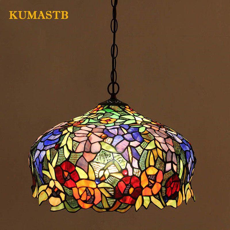 Glasmalerei Vintage Leuchten Cafe Schlafzimmer Wohnzimmer Lampe Kunst  Farbiges Glas Esszimmer Pendelleuchte Dia40cm