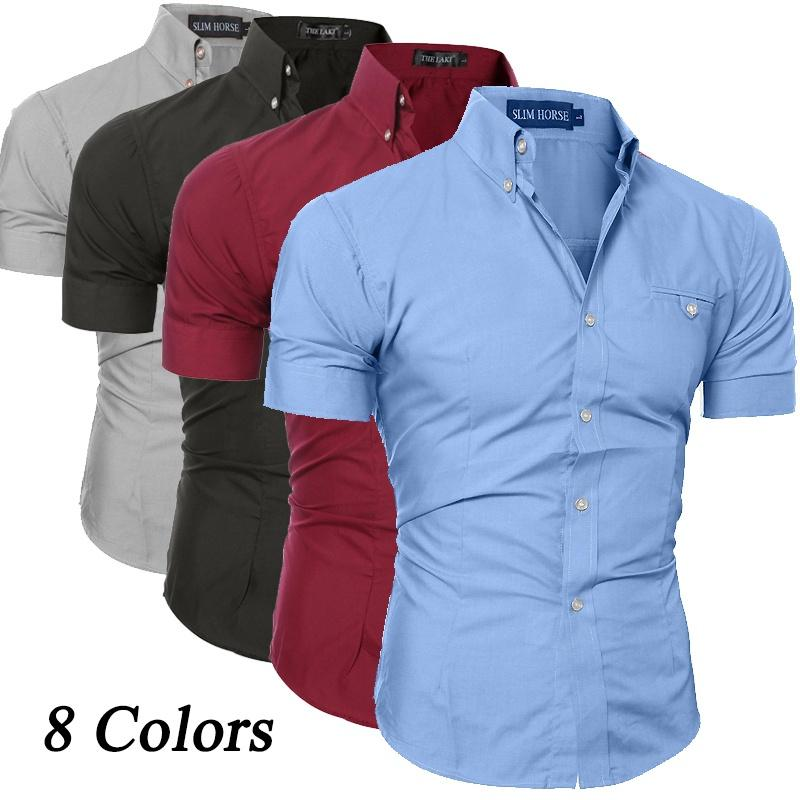 Dress Business Courtes Mens Shirt Turn Manches Chemise Coton Acheter wITYxnSXqq