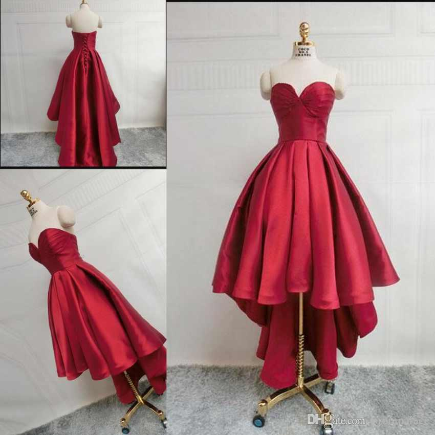 40a044f75b Simple Dark Red Prom Dresses Sweetheart Neck Pleats Satin Dresses Custom  Made Corset Hi Lo Evening Gowns Formal Dresses Real Image Very Cheap Prom  Dresses ...