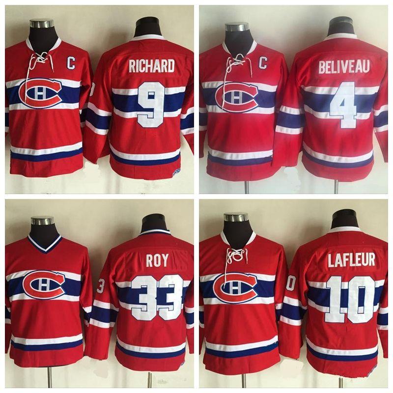 ... 2018 mens montreal canadiens jerseys 4 jean beliveau 9 maurice richard  10 guy lafleur jerseys kids df4b42b9f