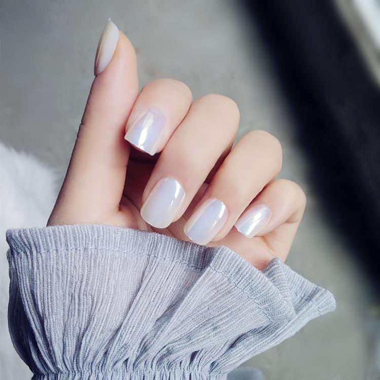 Fake Nail Short Specular Reflection Style White Pink Full ...