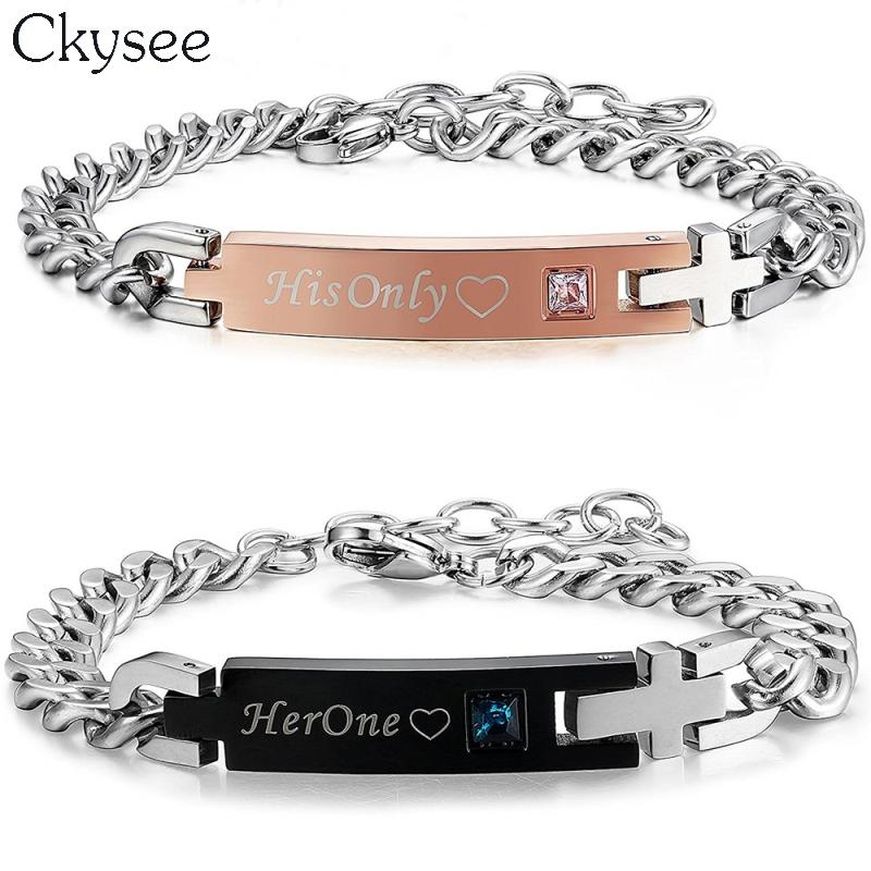 9ba77509fc Ckysee 2018 His Only Her One Stainless Steel Couple Bracelet For Women Men  Red Blue Crystal Charm Bracelets Id Bangles Jewelry Best Friend Charm  Bracelets ...