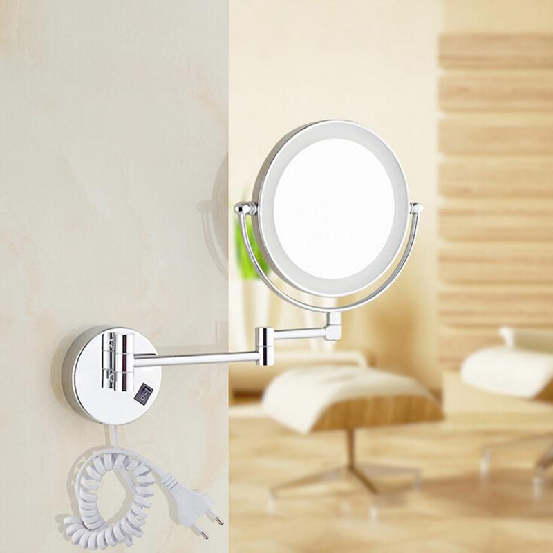 8led Light Wall Mounted Round Magnifying Mirror Led Makeup