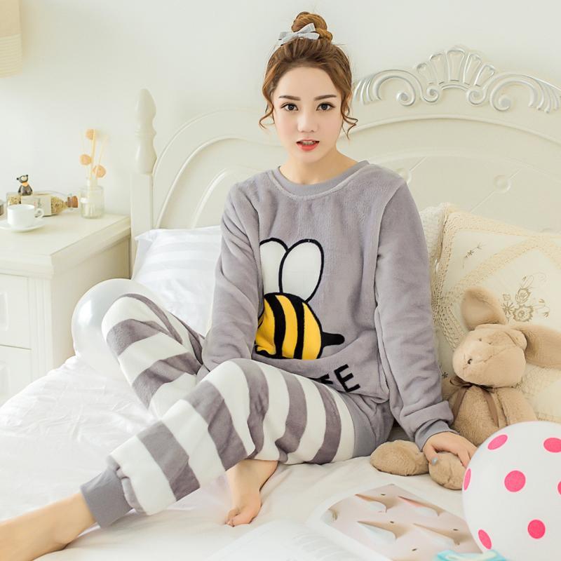 610690451b 2019 Fall & Winter Ladies Pajamas Cute Cartoon Bees Thickened ...