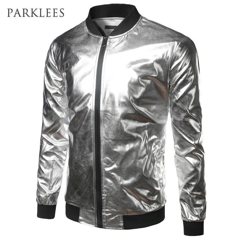 Compre Plateado Metallic Bomber Jacket Men Mandarin Collar Shiny Night Club  Béisbol Varsity Jacket Hombres Casual Slim Fit Chaqueta Para Hombre Abrigos  ... 66d896a8f84