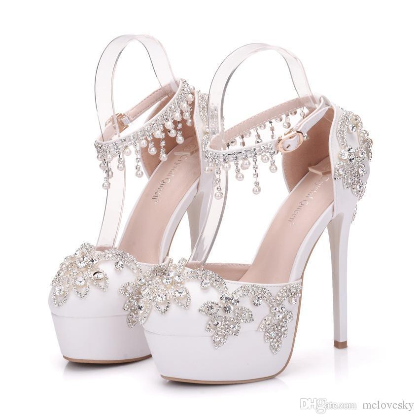 80af6824af142 Compre Nuevos Zapatos De Punta Redonda Hechos A Mano Hermosas Para Las  Mujeres Blancas Que Rebordean Los Zapatos De La Boda Del Alto Talón Tacones  Delgados ...