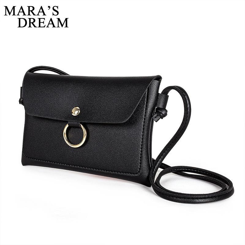 e6ae7c7a36eb Mara's Dream Women PU Leather Bag Fashion Simple Small Shoulder Bag Candy  Color Mini Messenger Bags New Women Crossbody Bags