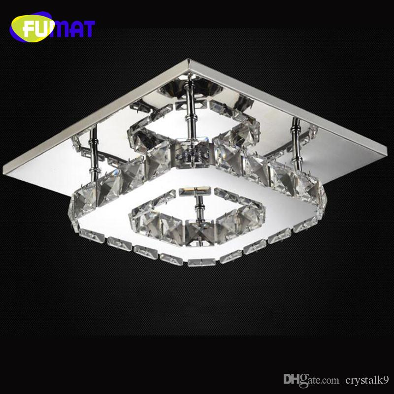 FUMAT Square Crystal Lustre LED Modern Ceiling light Luminarias Para Sala led lamps for home aisle corridor balcony kitchen fixtures