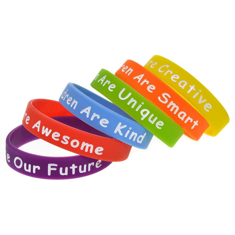 Children Size Silicone Rubber Bracelet Says Children are Awesome Creative Kind Our Future Smart Unique