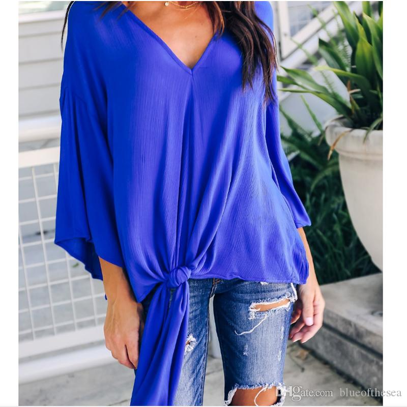 2a5385a26e840 2019 New Women Loose V Neck Tops Ladies Long Sleeve Casual Bandage Knot  Chiffon Holiday Blouse Shirt Female Blusas Tunic Shirts Tops From  Blueofthesea, ...