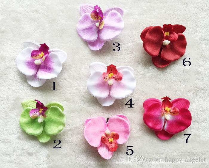 3 pouces blanc Orchidée Phalaenopsis Fleurs avec Barrettes Filles Head Flower bande cheveux pour enfants Accessoires HD3560