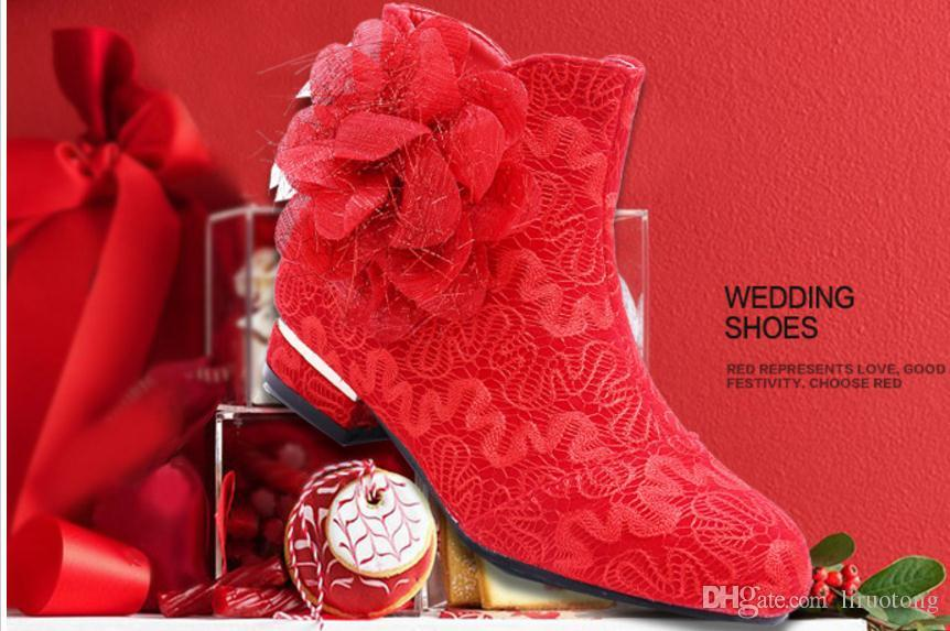 2017 new autumn and winter boots red wedding shoes with flat shoes ladies boots wedding bride women round shoes