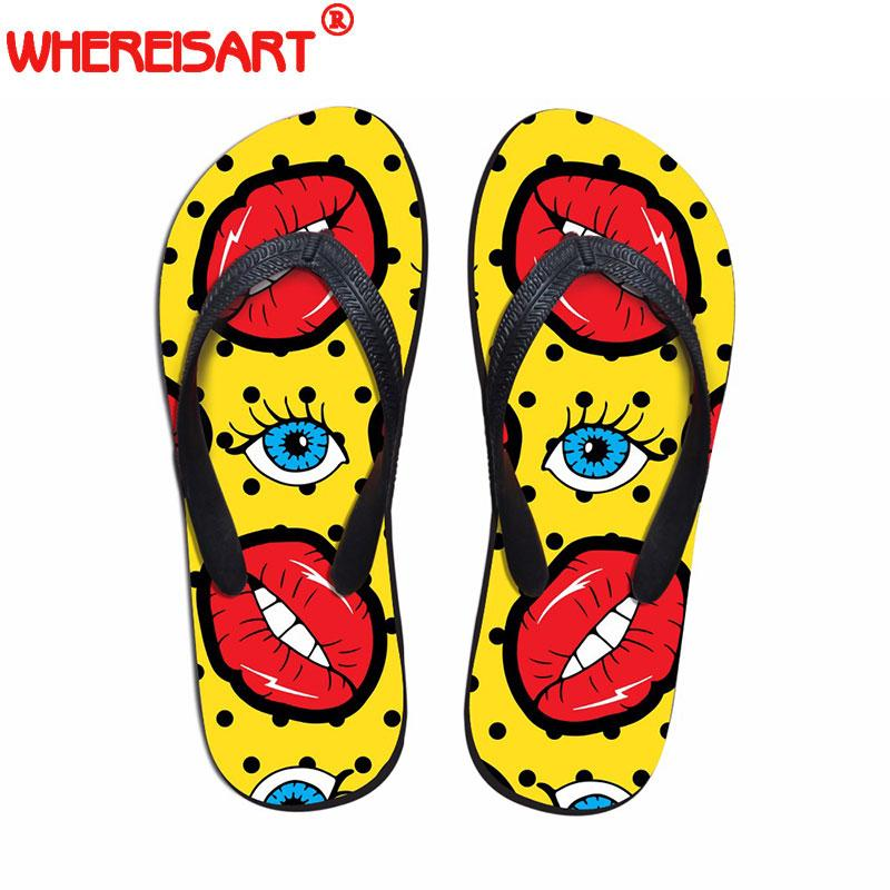 9ccb21290286b0 Wholesale Funny Red Lips Fashion Flip Flops Woman Casual Women s ...