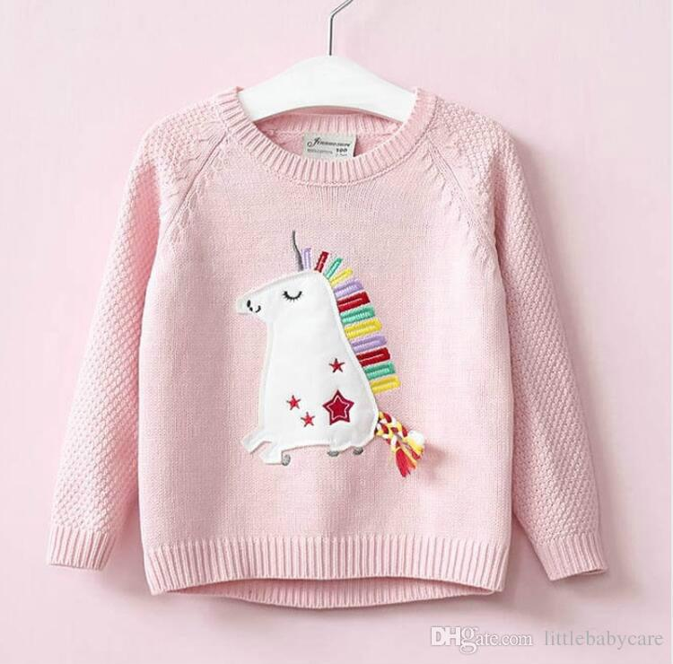 Fashion girls kids sweater print cartoon sweater for toddler children  clothing autumn knitting clothes free shipping