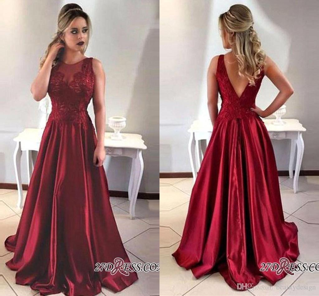2018 Customize Dark Red Sleeveless Satin Long Formal Evening Dresses V  Shape Backless Custom Made Prom Gowns For Graduation Dress BA7957 Open Back  Prom ... 259dc2093