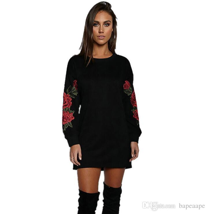 da14c296d5b 2018 Autumn New Style European And American Three Dimensional Flower  Embroidery Round Collar Long Sleeve Dress Fashion Lady Skirt Dresses Of  Women Summer ...