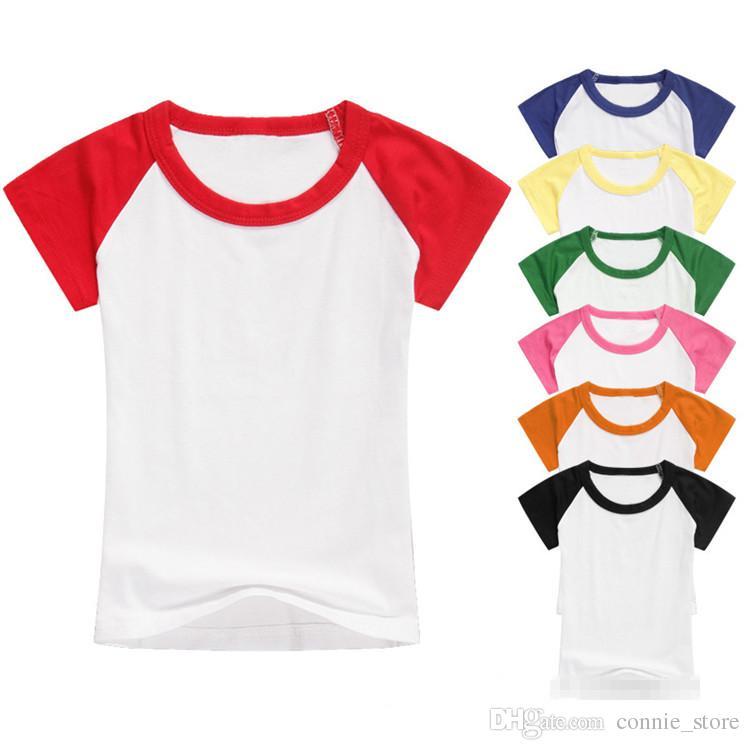 e24ef583 2019 Kids T Shirt Custom Made Children Splicing Short Sleeves Shirts  Children Kids Cotton Tops Boys Girls Raglan Shirts Children Clothing NC115  From ...