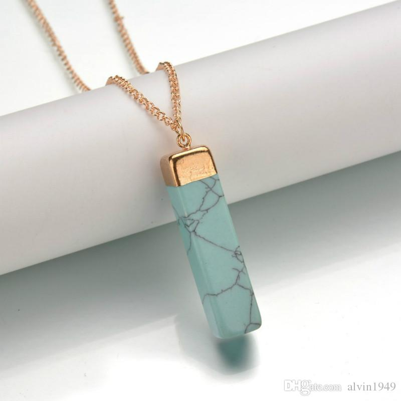 """Rectangle Natural Stone Necklace Natural Crystal Pendant Necklace Gemstone Necklaces 28"""" Gold Plated Chain Fashion Pendants"""