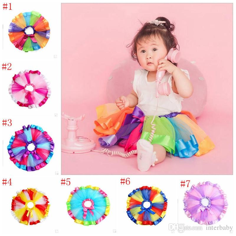 162953433b75 2019 Girls Rainbow Tutu Dresses Kids Gauze Dance Skirts Newborn Lace ...