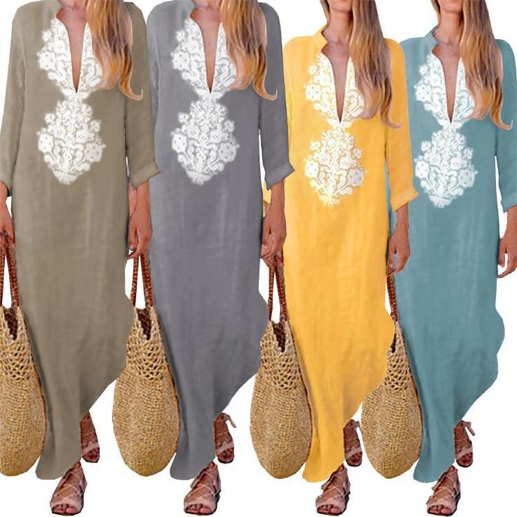 49482fd26dd2 Floral de las mujeres impreso algodón de lino de manga larga sólido suelto  escote V Boho vestido largo Kaftan vestido ocasional