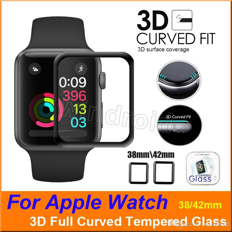 Per Apple Watch 4 40mm 44mm 3D Full Coverage curvo protezione dello schermo in vetro temperato 42mm 38mm antigraffio per iWatch Series 1 2 3 4