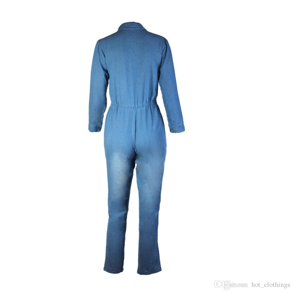 Factory Sexy turn down collar long sleeve fashion casual denim jumpsuit elastic waist fitted party jumpsuit with buttons and pockets 3XL