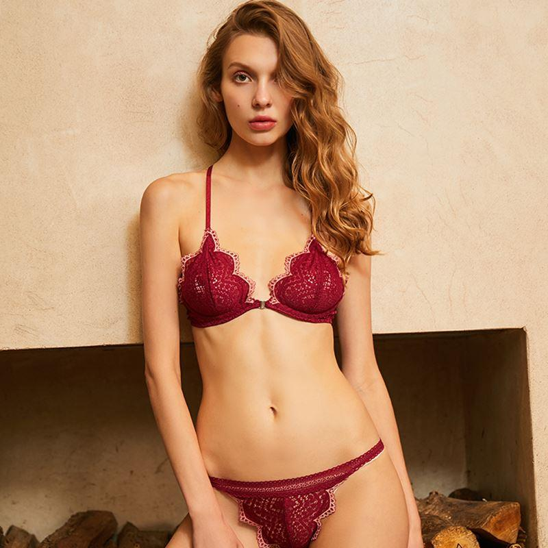 3a0e04f61c 2019 CINOON French Lace Bra Underwear Female Front Buckle Ultra Thin  Lingerie Set Hit Color Hanging Neck Sexy Beauty Back Bra Set From  Insightlook
