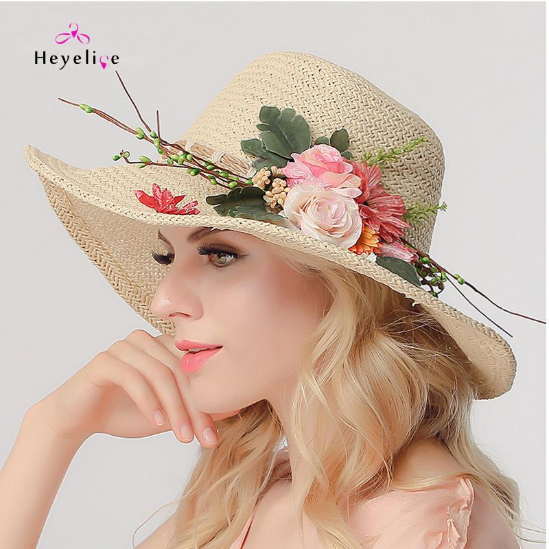 0a3af8f3c6c Fashion Women s Summer Hats Straw Caps With Flowers Holida Beach Romantic Straw  Hats High Quality New Women Summer Sun Kentucky Derby Hats Trucker Hats  From ...