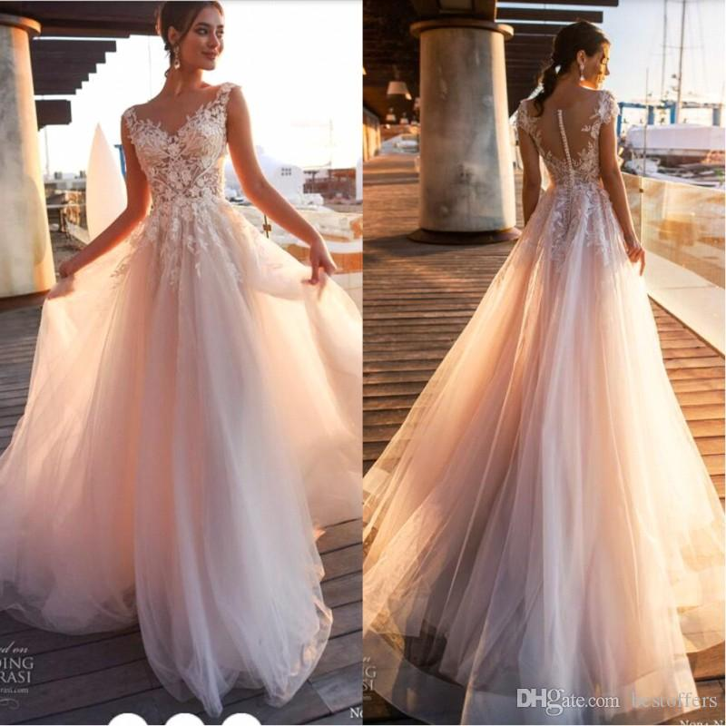d061f537167e5 2019 New Beach Country Lace Appliques A Line Wedding Dresses Sheer Scoop  Neck Tulle Covered Button Tulle Long Bridal Wedding Gowns BA9808