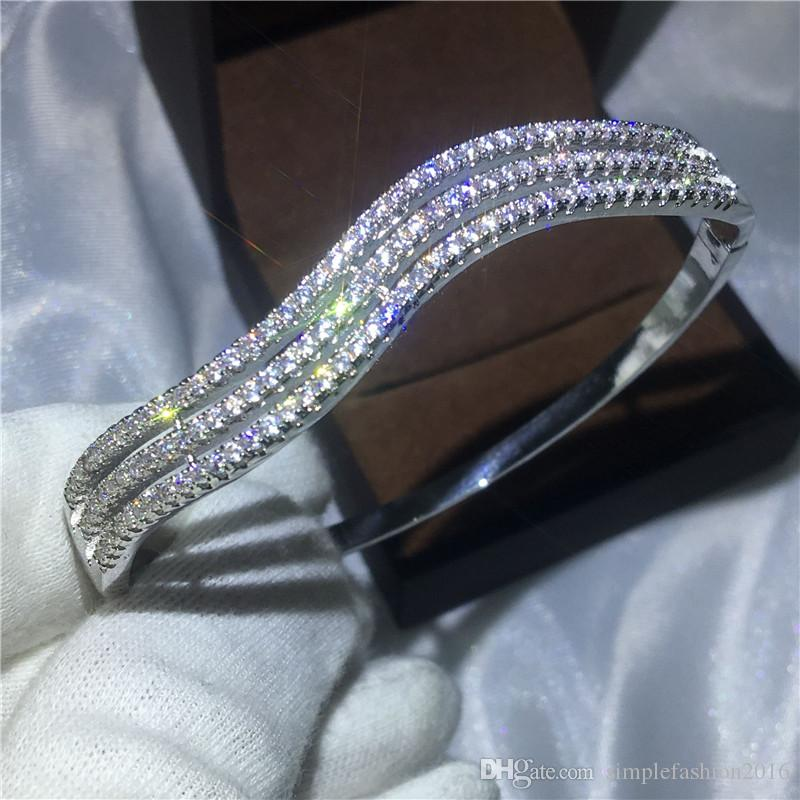 Female Cute lines bracelet Pave settling Diamond S925 Silver Filled Engagement bangle for women wedding accessaries