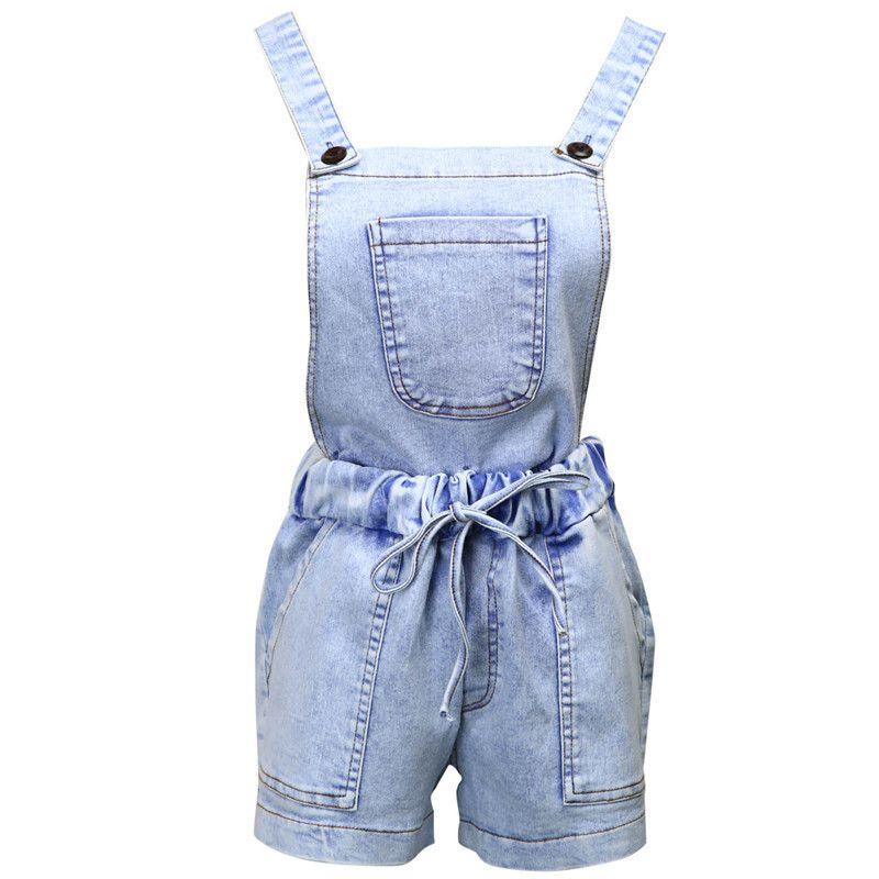 464779526 2019 Summer Lady Sexy Denim Hot Pants Jeans Women Elastic High Waist Short  Overall Detachable Strap Front Pocket Acid Wash Carpenter From Douban