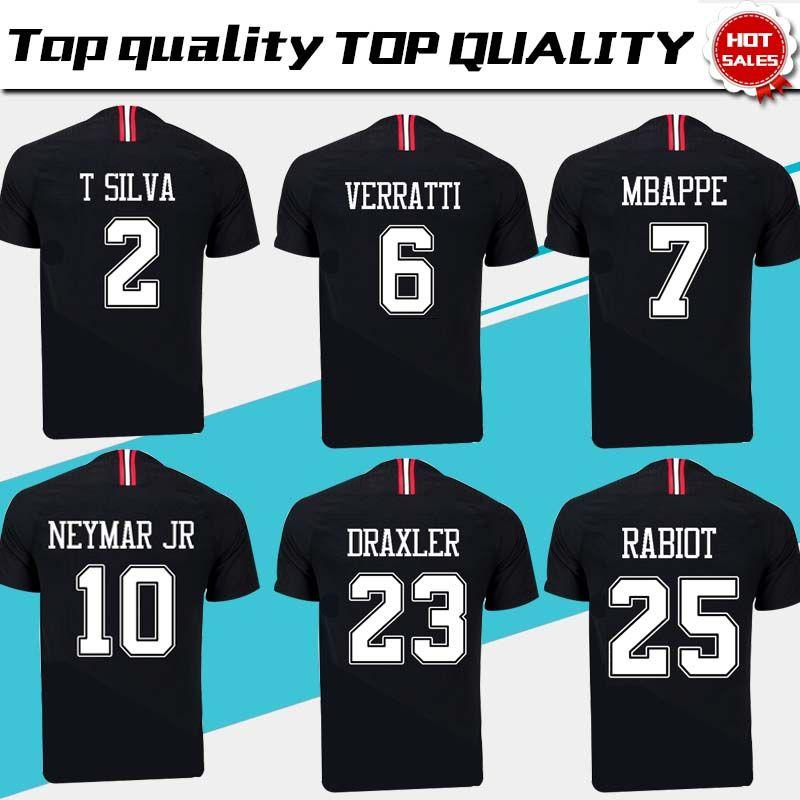 Nuevo Logo PSG Black Soccer Jersey 18 19 Paris Saint Germain   10 NEYMAR JR    7 MBAPPE   9 CAVANI Camiseta De Fútbol Negro Talla S 4XL Por Xctc5320 69d9553756c0a