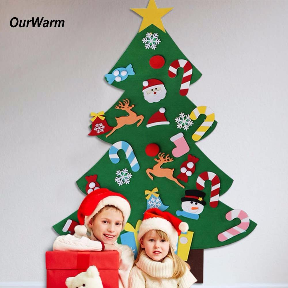 wholesale ourwarm christmas gifts for 2018 kids diy felt christmas tree with ornaments new year decoration door wall hanging decoration christmas - Christmas Wall Hanging Decorations