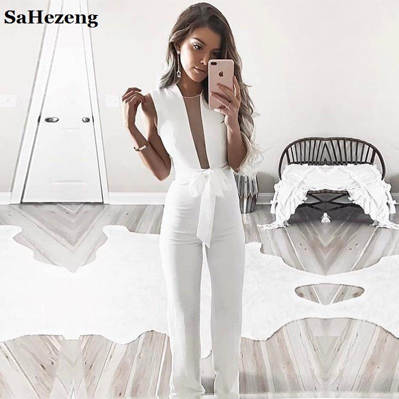 High Quality Elegant Hollow Out Ladies Jumpsuits Romper 2017 Women Sets One Pieces Fitness Fashion Club Party Playsuits L29-6