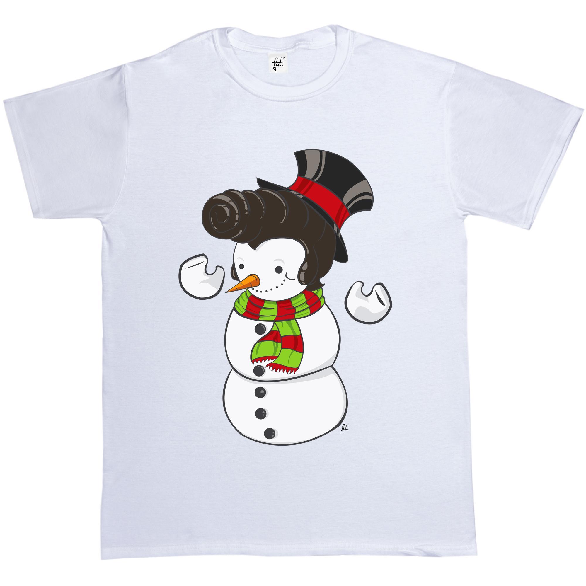 Elvis Presley Christmas Music.Snowman With Elvis Presley Type Quiff Hair Smiling Christmas Music Mens T Shirt Summer Short Sleeves New Fashion T Shirt