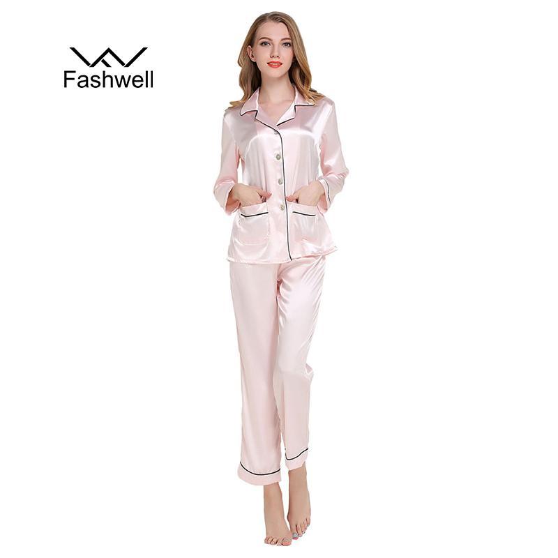 New Womens Satin Pajamas Sets Casual Sleepwear Long Sleeve Nightgowns Long  Pants Sleepwear Pajamas Sets UK 2019 From Insightlook d34ddaeed0