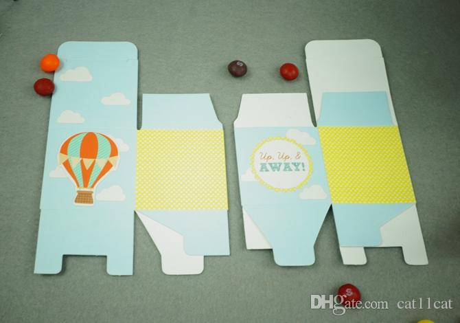"""""""Up, Up and Away!"""" Hot Air Balloon Birthday Boy Baby Shower Favors boxes baby shower souvenir wedding gifts for guests"""