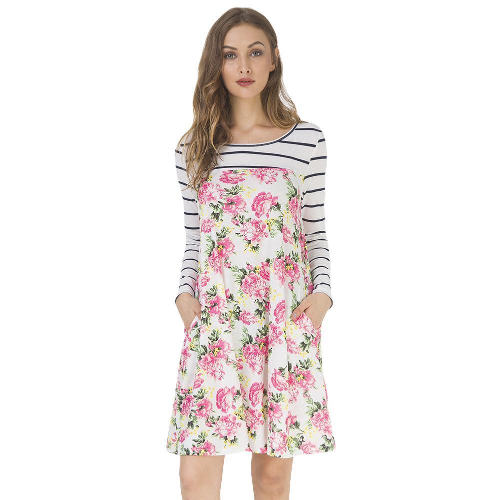83e62346b57f Women Autumn Floral Stripe Print Dress Long Sleeve Pockets Casual Loose T Shirt  Dress Vintage Midi Swing Dress Vestido De Festa Prom Gown Buy Dresses From  ...