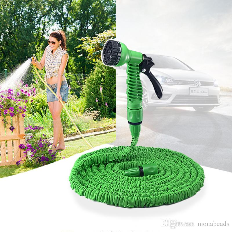 2018 expandable magic flexible garden hose water hose eu hose plastic hoses pipe with spray gun to watering car washer 25ft 200ft from monabeads - Flexible Garden Hose