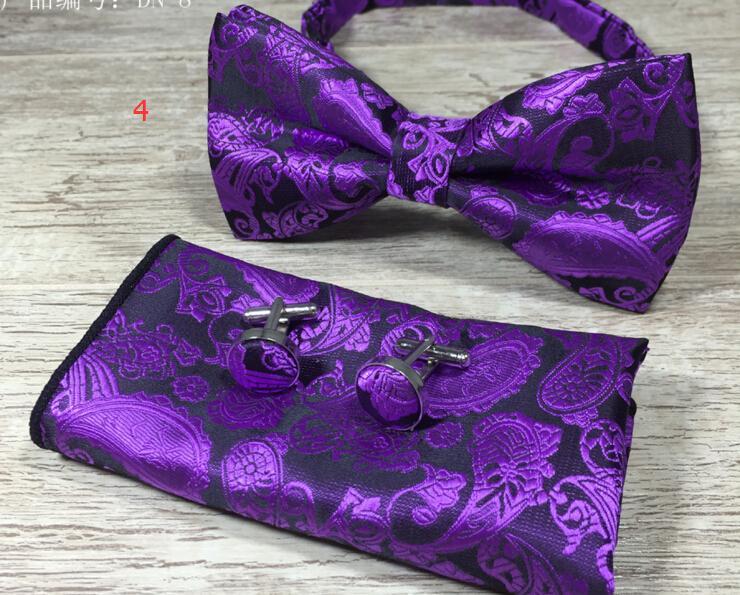 Paisley Bow Tie Set Bow Tie E lenço Abotoaduras Set Silk Jacquard tecido Men borboleta Praça Bowtie Pocket Handkerchief Wedding Suit 10 Sé