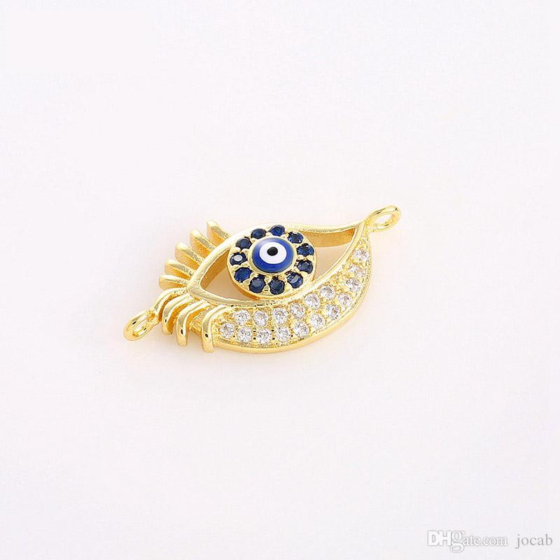 Wholesale 2018 Fashion Handmade Jewelry DIY Connectors Findings Copper Evil Eye Charms Pendant Bracelets Necklace Accessories Parts Fittings
