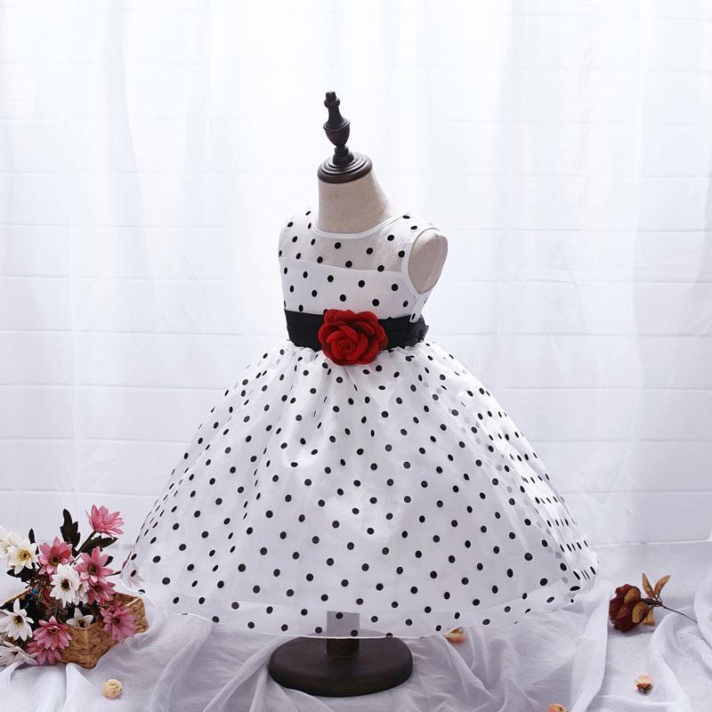 AiLe Tavşan Yeni Varış 2017 Prenses Yaz Kız Elbise Klasik Beyaz Siyah Puanl Çocuk Dans Elbiseler Küçük Kız Için